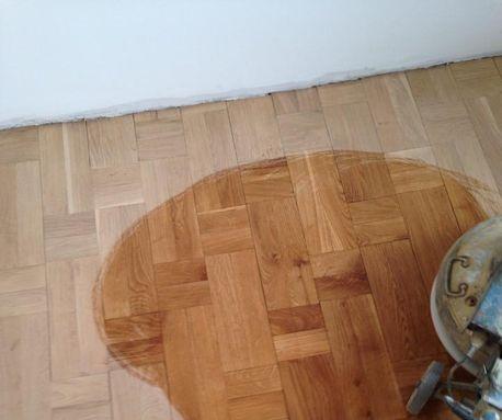 slipa golv före efter